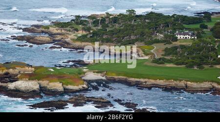 Golf course on an island, Pebble Beach Golf Links, Pebble Beach, Monterey County, California, USA - Stock Photo