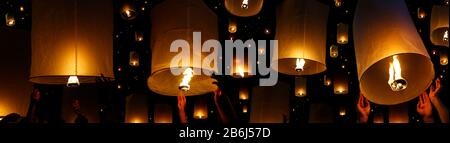 flying candle during Loy krathong festival, chiang mai , Thailand - Stock Photo