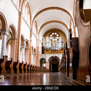 VIENNA, AUSTRIA, 22 MARCH 2017: Panoramic view of Interior of St. Francis of Assisi Church, Vienna. Cathedral was built in 1898 - Stock Photo