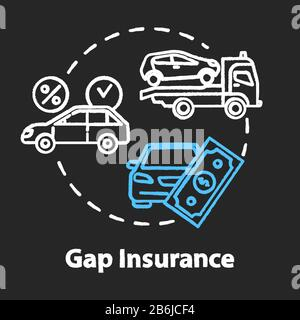 Gap insurance chalk RGB color concept icon. Refund for car cost difference. Damage from accident. Financial aid idea. Vector isolated chalkboard - Stock Photo