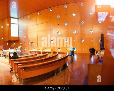 VIENNA, AUSTRIA, 22 MARCH 2017: Interior of Donau City Church or Christ, Hope of the World located near UN building Stock Photo