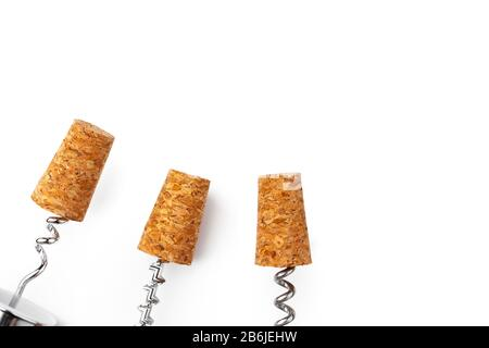 corkscrew and wine cork isolated on white background - Stock Photo