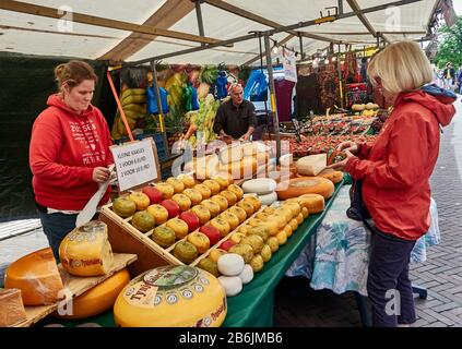 city of Leiden, provincof South Holland, Netherlands, Europe - Every Saturday there is a Fruit and Vegetables market on the Apotheksdijk and Various typeof cheese for sale. - Stock Photo
