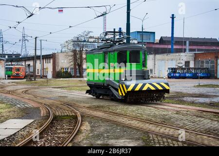 tram in the street in the Elblag city - Stock Photo