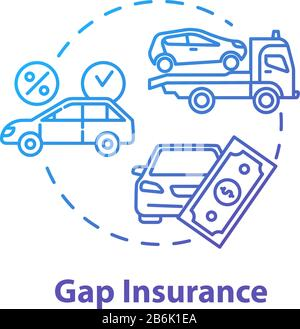 Gap insurance concept icon. Auto loan. Refund for car cost difference. Damage from accident. Financial aid idea thin line illustration. Vector - Stock Photo