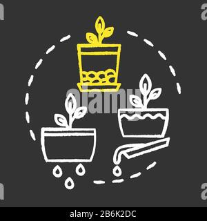 Good drainage chalk RGB color concept icon. Home gardening tip. Houseplants caring. Plant nursing, floristry hobby idea. Vector isolated chalkboard - Stock Photo