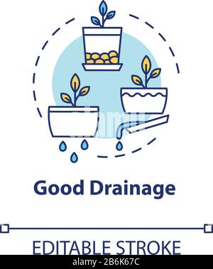 Good drainage concept icon. Home gardening tip. Houseplants caring. Plant nursing, floristry hobby idea thin line illustration. Vector isolated - Stock Photo