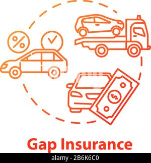 Gap insurance concept icon. Mortgage money. Refund for car cost difference. Damage from accident. Financial aid idea thin line illustration. Vector - Stock Photo