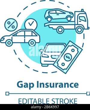 Gap insurance concept icon. Refund for car cost difference. Damage from accident. Financial coverage idea thin line illustration. Vector isolated - Stock Photo