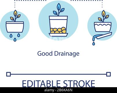 Good drainage concept icon. Indoor gardening. Plant cultivation. Eliminating standing water. Draining pots idea thin line illustration. Vector - Stock Photo