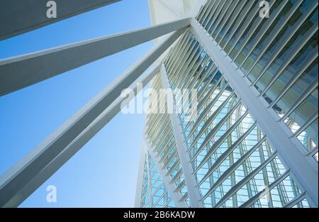 Valencia, Spain, The City of Arts and Sciences by the architect Calatrava. Detail of the Museum of Sciences palace - Stock Photo