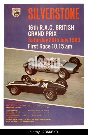 Vintage poster for the 1963 RAC British Grand Prix Formula 1 race at Silverstone - Stock Photo