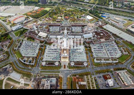 , The CentrO is one of the largest shopping centers and urban entertainment center in Germany, 10.10.2012, aerial view, Germany, North Rhine-Westphalia, Ruhr Area, Oberhausen - Stock Photo