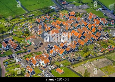Houses of Marken on the island in the Marker lake, aerial view, 09.05.2013, Netherlands, Northern Netherlands, Marche - Stock Photo