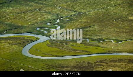 , Ostheller- landscape and salt marshes in the Wadden Sea prils Norderney island as part of the East Frisian Islands, aerial view, 27.08.2014, Germany - Stock Photo