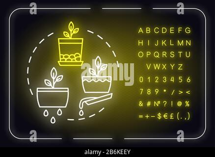 Good drainage neon light concept icon. Home gardening tip. Plant nursing, floristry hobby idea. Outer glowing sign with alphabet, numbers and symbols - Stock Photo