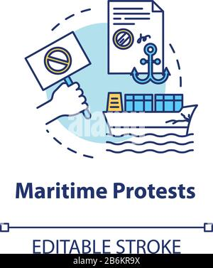 Maritime protest concept icon. Sea law. Cargo damage. Notarized paper. Collision, problem. Notary service idea thin line illustration. Vector isolated - Stock Photo