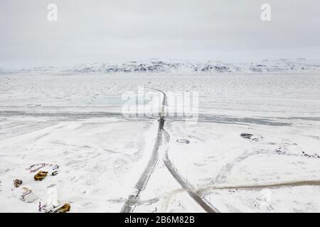 Winter near the  Sultartangavirkjun hydro power plant, Central Highlands, Iceland