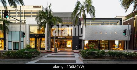 View of shopping center, Prada, Rodeo Drive, Beverly Hills Business Triangle, Beverly Hills, Los Angeles County, California, USA - Stock Photo
