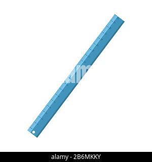 Cartoon blue stationery ruler . Vector illustration - Stock Photo