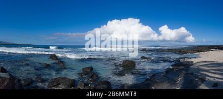 View of sea and coastline, South Kona, Hawaii, USA