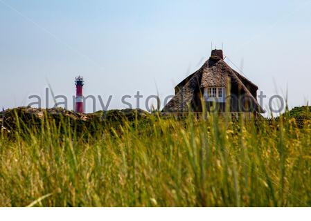 Hörnum lighthouse and thatched roof house on Sylt Island