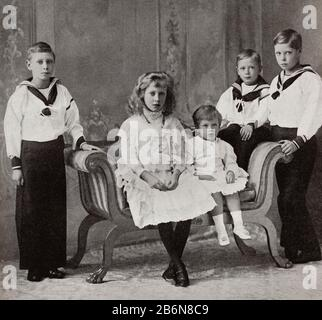 The children of king George V. Left to right, Prince Albert, Princess Mary, Prince George, Prince Henry and the Prince of Wales.  Prince Albert Frederick Arthur George, future Duke of York and George VI, 1895 – 1952.  King of the United Kingdom and the Dominions of the British Commonwealth.  Mary, Princess Royal and Countess of Harewood, 1897 – 1965. Prince George, future Duke of Kent, 1902 – 1942.  Prince Henry, future Duke of Gloucester, 1900 – 1974.  Prince Edward the Prince of Wales, future Edward VIII and later Duke of Windsor, 1894 – 1972.  From King George the Sixth, published - Stock Photo