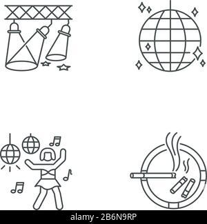 Nightclub recreation pixel perfect linear icons set. Customizable thin line contour symbols. Light show, disco ball, go go dancer and ashtray isolated - Stock Photo
