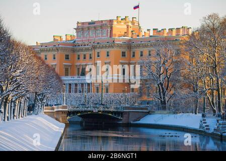 Engineering (Mikhailovsky) castle on a December morning. Saint-Petersburg, Russia - Stock Photo