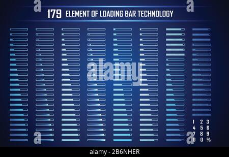 Set of Loading Bar Abstract Digital Technology UI Futuristic HUD Virtual Interface Elements Sci- Fi Modern User For Graphic Motion, Theme Technology, - Stock Photo