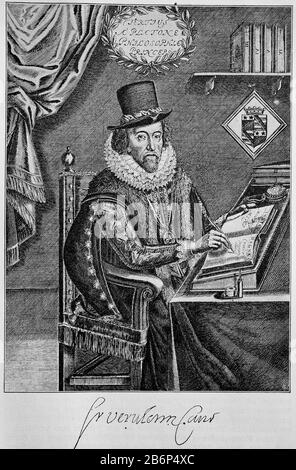 Francis Bacon, 1st Viscount St. Albans, Baron Verulam, January 22, 1561 - April 9, 1626, an English philosopher, lawyer, statesman and considered a pioneer of empiricism  /  Francis Bacon, 1. Viscount St. Albans, Baron Verulam, 22. Januar 1561 - 9. April 1626, ein englischer Philosoph, Jurist, Staatsmann und gilt als Wegbereiter des Empirismus, Historisch, digital improved reproduction of an original from the 19th century / digitale Reproduktion einer Originalvorlage aus dem 19. Jahrhundert, - Stock Photo