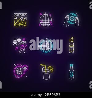 Night club leisure neon light icons set. Entertainment establishment, clubbing signs with outer glowing effect. Adult recreation, dancing and alcohol - Stock Photo