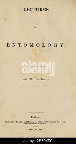 Title Page from 'Lectures on Entomology' by John Barlow Burton Published in London in 1837 by Simpkin and Marshall - Stock Photo