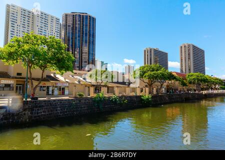 Honolulu, Oahu, Hawaii - November 04, 2019: view on Chinatown, Honolulu. Honolulu is the capital and largest city of the US state of Hawaii - Stock Photo