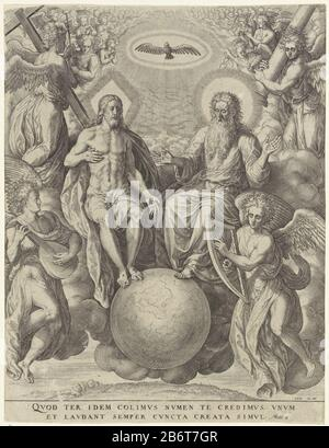 In heaven Christ and God are the Father's side, with their feet resting on a globe. Above them, the Holy Spirit in the form of a dove. They are surrounded by angels. Some of them with passion instruments in the hands. In the margin a two-line Bible quote from Matt. 2 in Latijn. Manufacturer : printmaker: Jerome Who: rix (listed property) designed by: Crispin van den Broeck Place manufacture: Antwerp Date: 1563 - Characteristics 1619 Physical: car material: paper Technique: engra (printing process) Dimensions: sheet: h 262 mm × W 202 mm Subject: the Holy Trinity, 'Trinitas coelestis; Father, So - Stock Photo