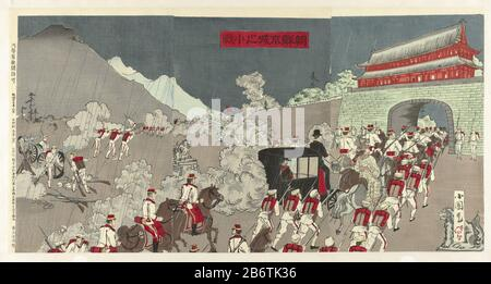 the Japanese army expels Korean soldiers at the palace of the king in Seoul, Korea. The soldiers wear their white summer uniforms. The car sits minster Otori with his right the Taewongon that supported the Japanese. This incident took place in early July 1894, during the First Sino-Japanese War (1894-1895). By the end of the month, Japan had the Korean government replaced a pro-Japanese bestuur. Manufacturer : printmaker: Utagawa Kokunimasa (listed building) publisher: Inoue Kichijirô (Teikadô) (listed building) Place manufacture: Japan Date: 1894 Physical features: color woodcut; line block i - Stock Photo