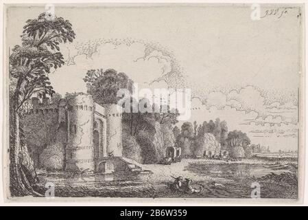 Huifkarren op een pad bij een kasteel Rivierlandschappen (serietitel) Two seated figures on a path along a castle on a river. On the path three wagons. Print from a series of rivierlandschappen. Manufacturer : print maker: Jan van de Velde (II) (referred to on object) Place manufacture: Northern Netherlands Date: 1603 - 1641 Physical characteristics: etching material: paper Technique: etching dimensions: plate edge: H 122 mm × W 186 mmToelichtingNiet described by Franks and Van der Kellen. Subject: river landscape with tower or castle covered wagon, hooded wagon - Stock Photo