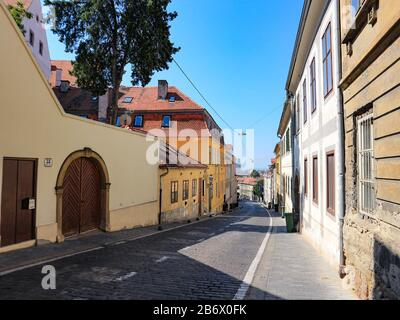 Steep and colorful Mesnička street in Zagreb - Stock Photo