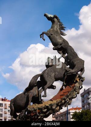 Horses sculpture in Spain Square in Vigo, Pontevedra, Galicia, Spain. - Stock Photo