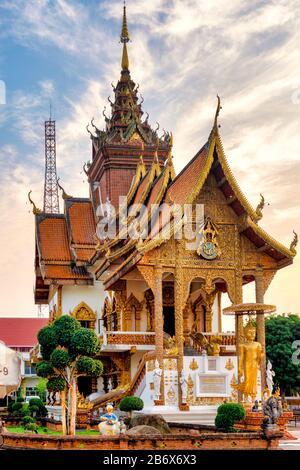 Wat Buppharam, Chiang Mai, Thailand - Stock Photo