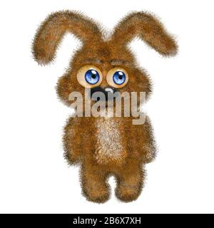 Cute bunny isolated on white background. Cartoon little brown Easter rabbit with big eyes for  greeting card. Hand draw stock illustration - Stock Photo