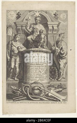 Julius Caesar enthroned on a pedestal with his right hand a picture of the Victory, a globe in his left hand. Constantine left with globe and a banner with the chi-rho symbol. Right Emperor Rudolf I with heavy d and orb. The arms of the House of Habsburg stands next to his voeten. Manufacturer : printmaker Cornelis Galle (I) (listed building), designed by Peter Paul Rubens (listed building) Publisher: Balthasar Moretus (II) (listed property) Place Manufacture: Antwerpen Date: 1645 Material: paper Technique: engra (printing process) Measurements: plate edge: h 309 mm × W 207 mmToelichtingTitelp Stock Photo