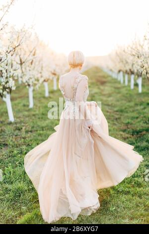 Young beautiful romantic blonde Caucasian woman in long light elegant dress walking and running in blooming garden, back view full-lengh portrait