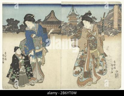 Kinryuzan in Asakusa in de Oostelijke hoofdstad Toto Asakusa Kinryuzan (titel op object) Two women and a boy on his way to Kinryu the temple, displayed above the stylized clouds. The boy is wearing a black jacket Where: pattern of dogs and pine cones in his hand a fan of the Japanese vlag. Manufacturer : printmaker: Kunisada (I), Utagawa (listed building) publisher: Fujiokaya Hikotaro (listed building) place manufacture: Japan Date: 1830 - 1835 Physical characteristics: color woodblock; line block in black with blocks of color material: paper Technique: color woodblock dimensions: image: h 360 - Stock Photo