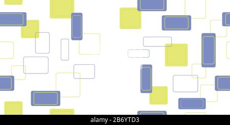 Seamless pattern from various rectangles. Vector illustration. Isolated elements on a white background. - Stock Photo