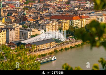 New budapest gallery whale shaped seen from Buda castle - Stock Photo