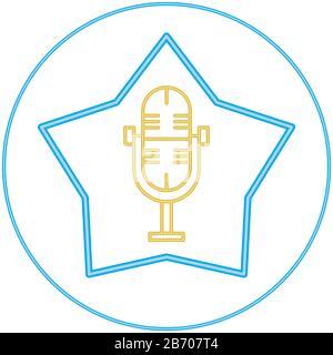 Microphone radio device isolated icon - Stock Photo