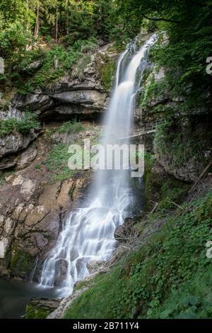 Giessbach waterfall in Switzerland - Stock Photo