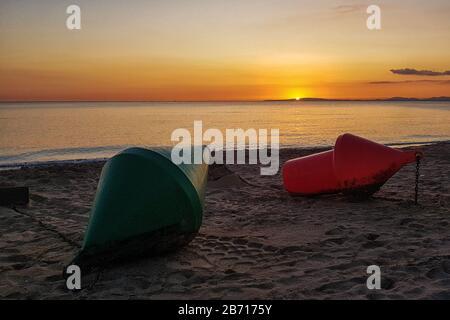 Buoys on S'Arenal beach in Palma de Mallorca - Stock Photo