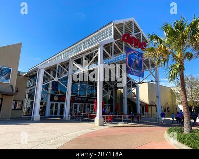 Orlando, FL/USA-2/29/20: An AMC Dine-In Theatre at an outdoor mall in Orlando, Florida.